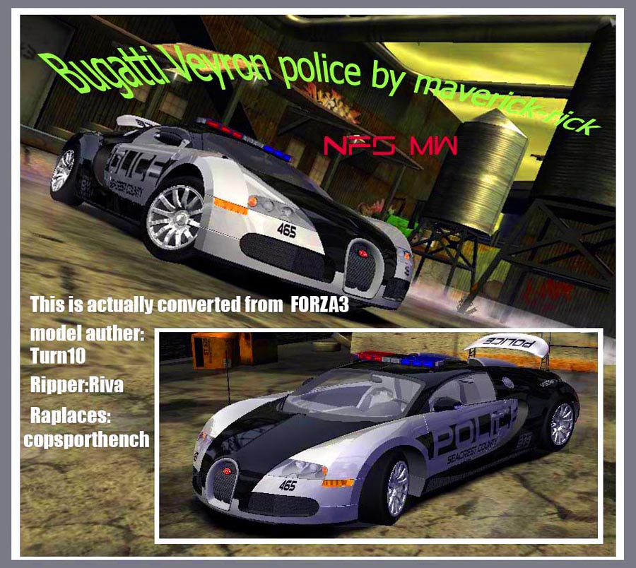need for speed most wanted bugatti veyron police by maverick rick demo. Black Bedroom Furniture Sets. Home Design Ideas