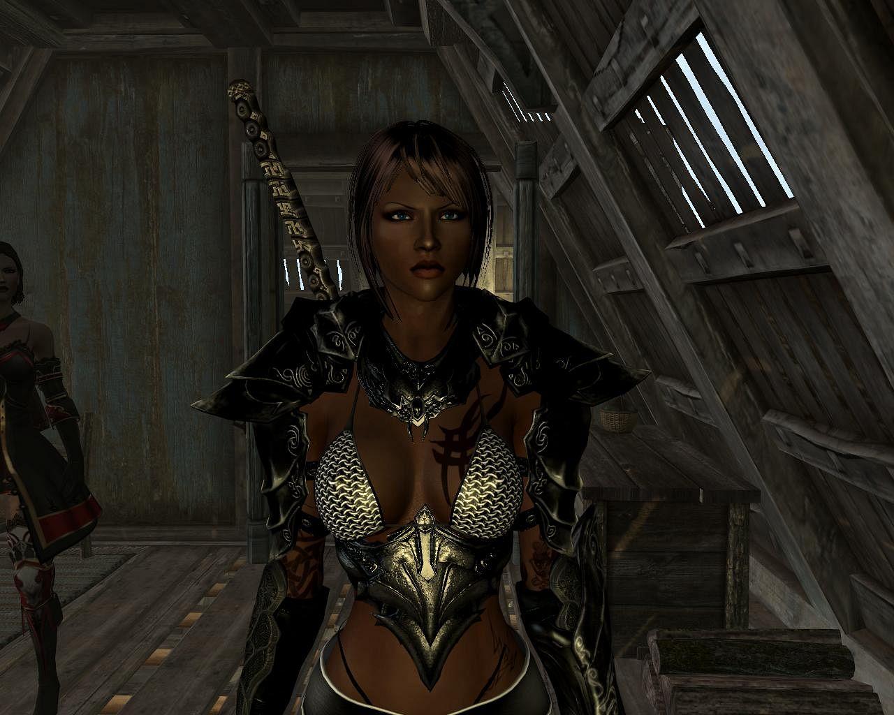 Skyrim женская сексуальная эбонитовая броня