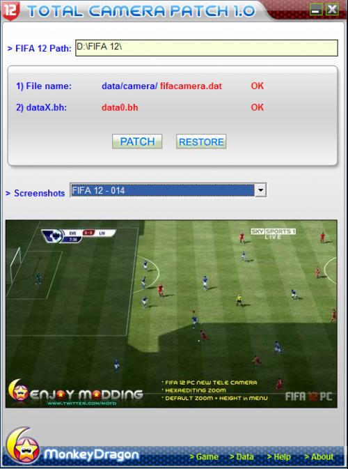 Установка: запустите программу, выберите патч. FIFA 12 Total Camera Patch