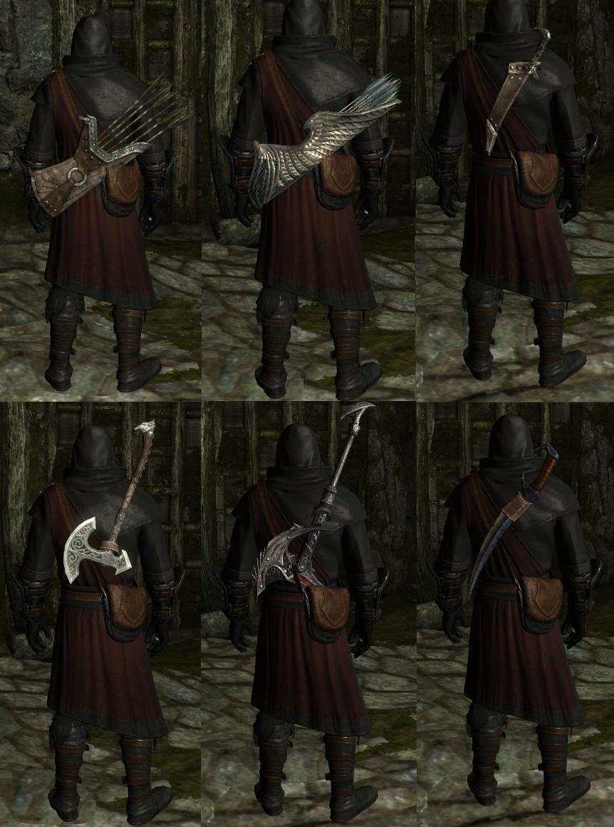 скачать мод для skyrim отображение оружия на теле