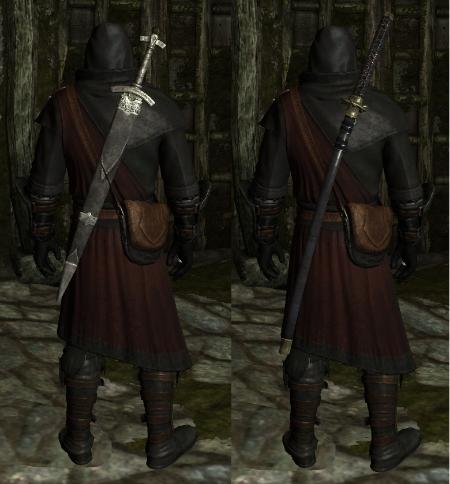Skyrim моды на Оружие за Спиной
