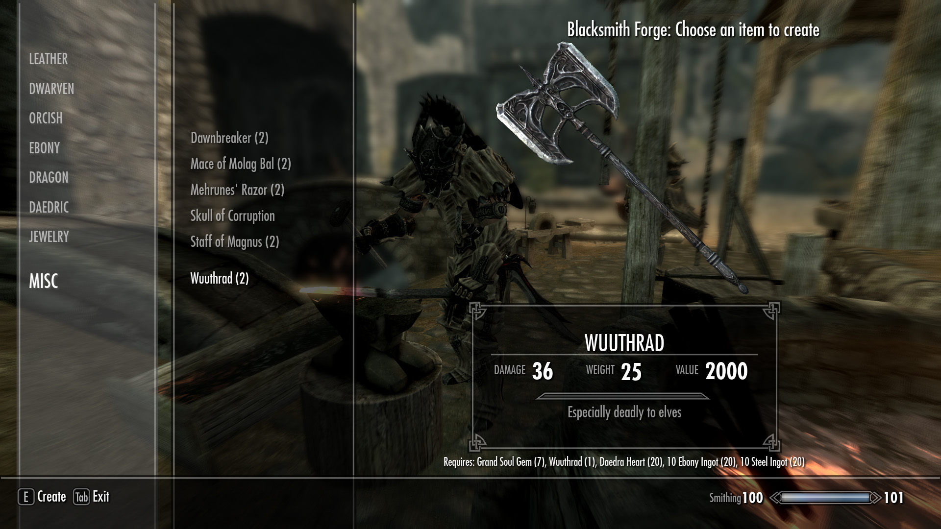 The sanguine rose is a staff of conjuration but unlike most that summons flame or frost atronach this one summons a dremora, the last thing available for summoning